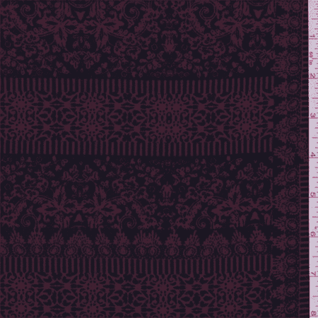 Black/Cranberry Patchwork Scroll Crepe de Chine, Fabric Sold By the Yard (Scroll Quilt Fabric)