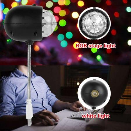 USB Mini Stage Lamp Portable LED RGB / White Light Disco Party Lighting Fixture Room Decor, Mini Disco Light, Mini USB RGB Light (Disco Decor)