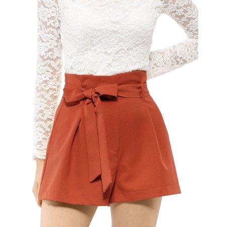 Women's Elegant Tie Waist High Waist Paper Bag Shorts (Size L / 14) Orange