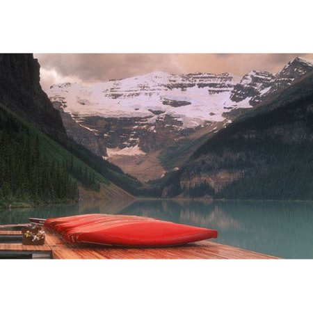 Printfinders Designpics Canoes Lined on A Dock Lake Louise Banff National Park Banff Alberta Canada by Bilderbuch Photographic Print on Canvas