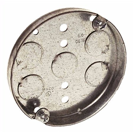 """RACO 293 Electrical Box, Round Ceiling Pan, 4"""" x 1/2"""", 2 gang"""