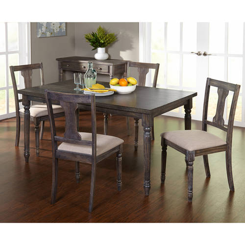 Burntwood 5 Piece Dining Set, Weathered Grey