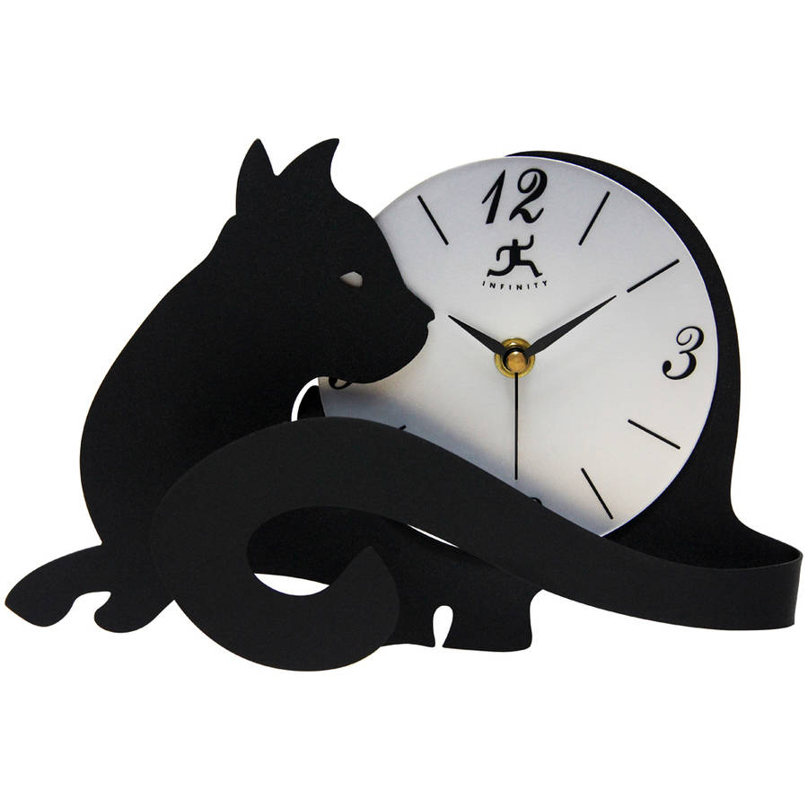 """Infinity Instruments Cat Tail 11.5"""" Table Top Clock"""