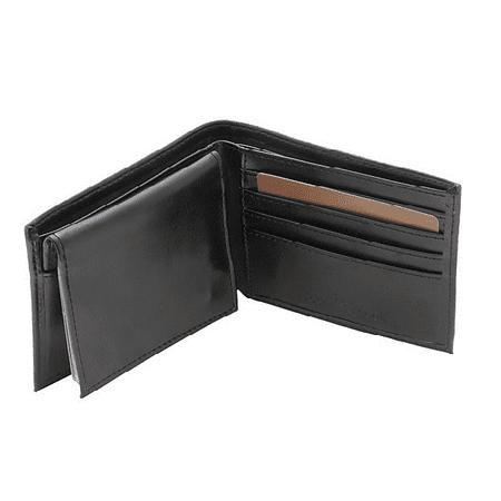 Men's Leather Passcase Wallet, Black ()