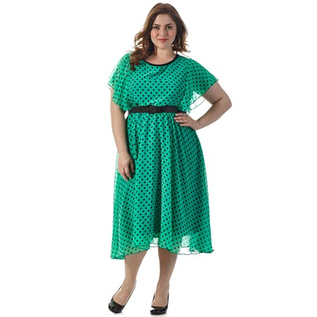 Plus Size Green & Black Polka Dot Dress with Flutter Sleeves