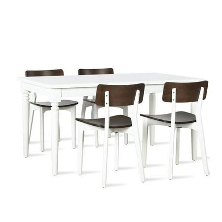 Novogratz Varick Rectangular 5-Piece Dining Set, White, Walnut