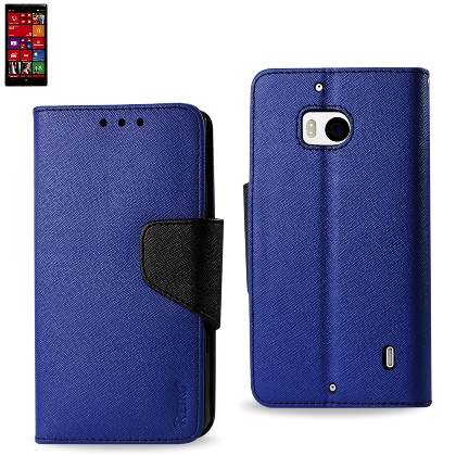 Wallet Case 3 In 1 For Nokia Lumia 929/ Lumia Icon Navy With Black Interior Leather-Like Material And Polymer Cover