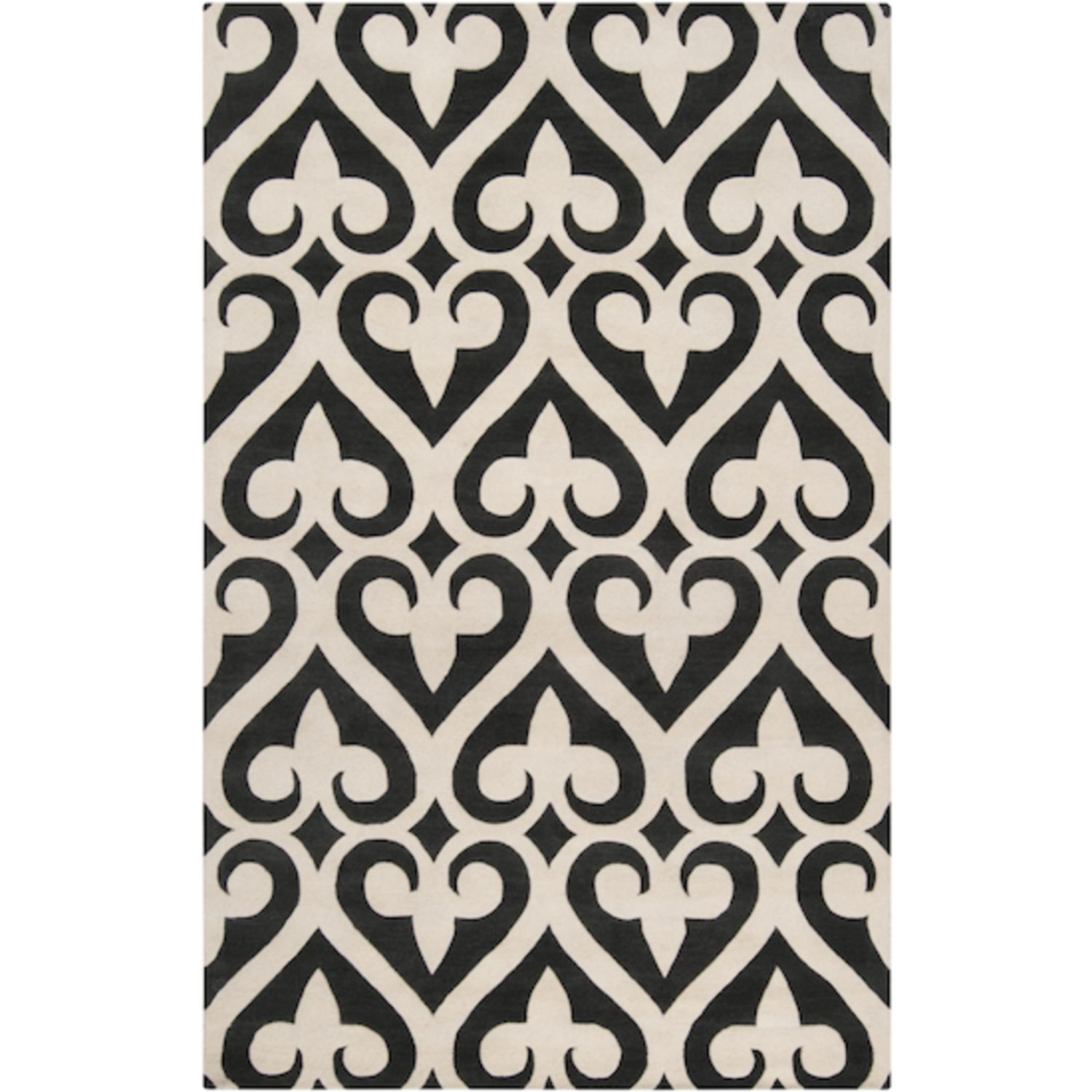 8' x 11' Spades White and Black Olive Wool Area Throw Rug