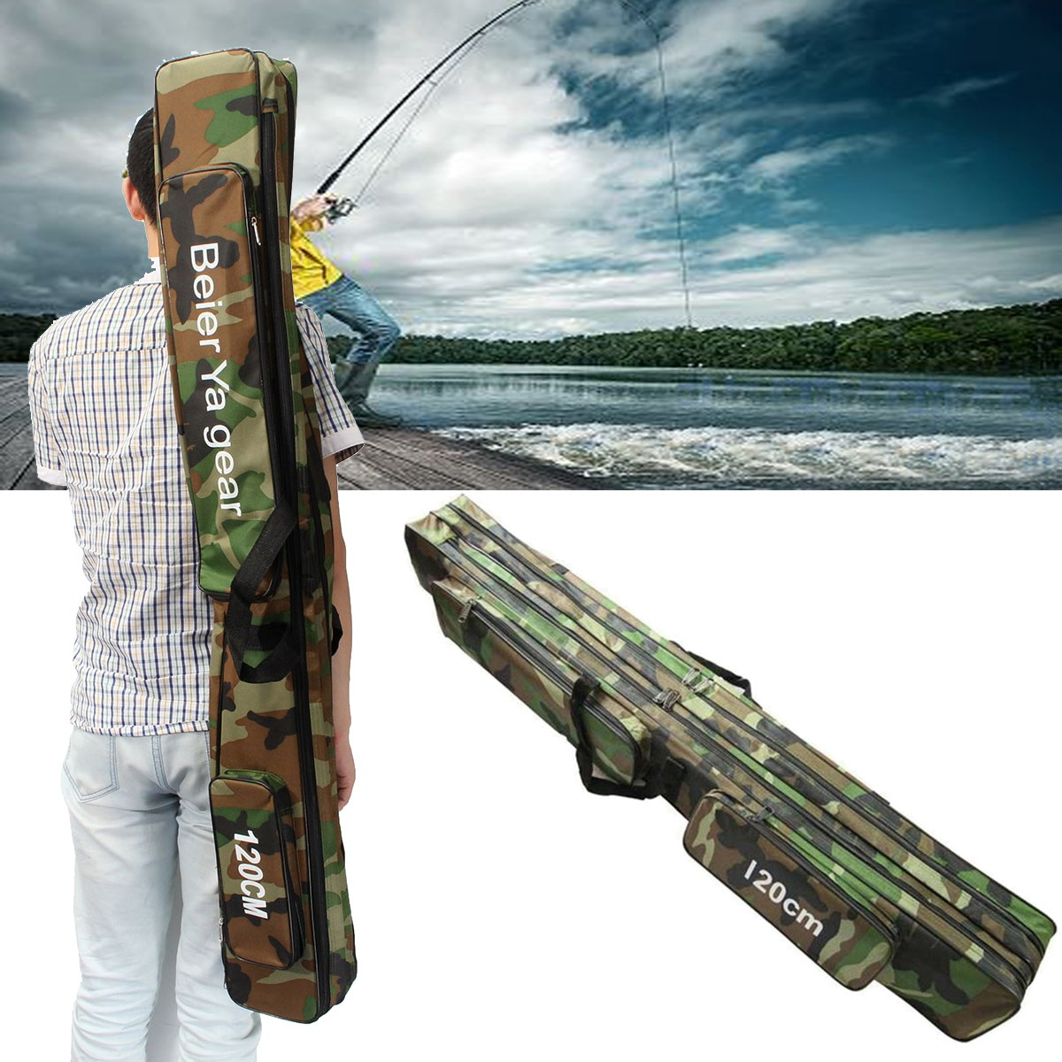 Three Layer Large Capacity Fishing Rod Bag Case Carry