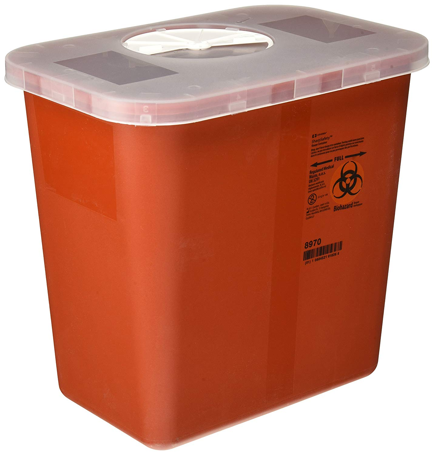 Kendall Covidien Multi-Purpose Sharps Container with Rotor Lid, Red, Adjustable rotor opening or hinged lids aWalmartmodate a variety of sharps.., By KendallCovidien,USA