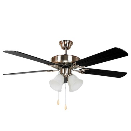 HARLI 5 Blade Ceiling Fan in Brushed Nickel with black and walnut blade finish