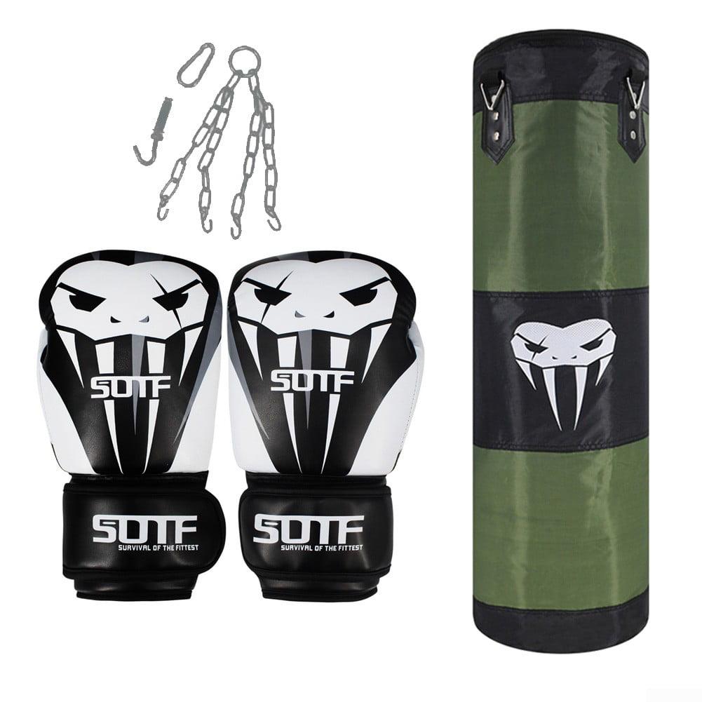 Heavy Boxing Punching Bag w//Gloves Set Kicking MMA Home Gym Exercise Training