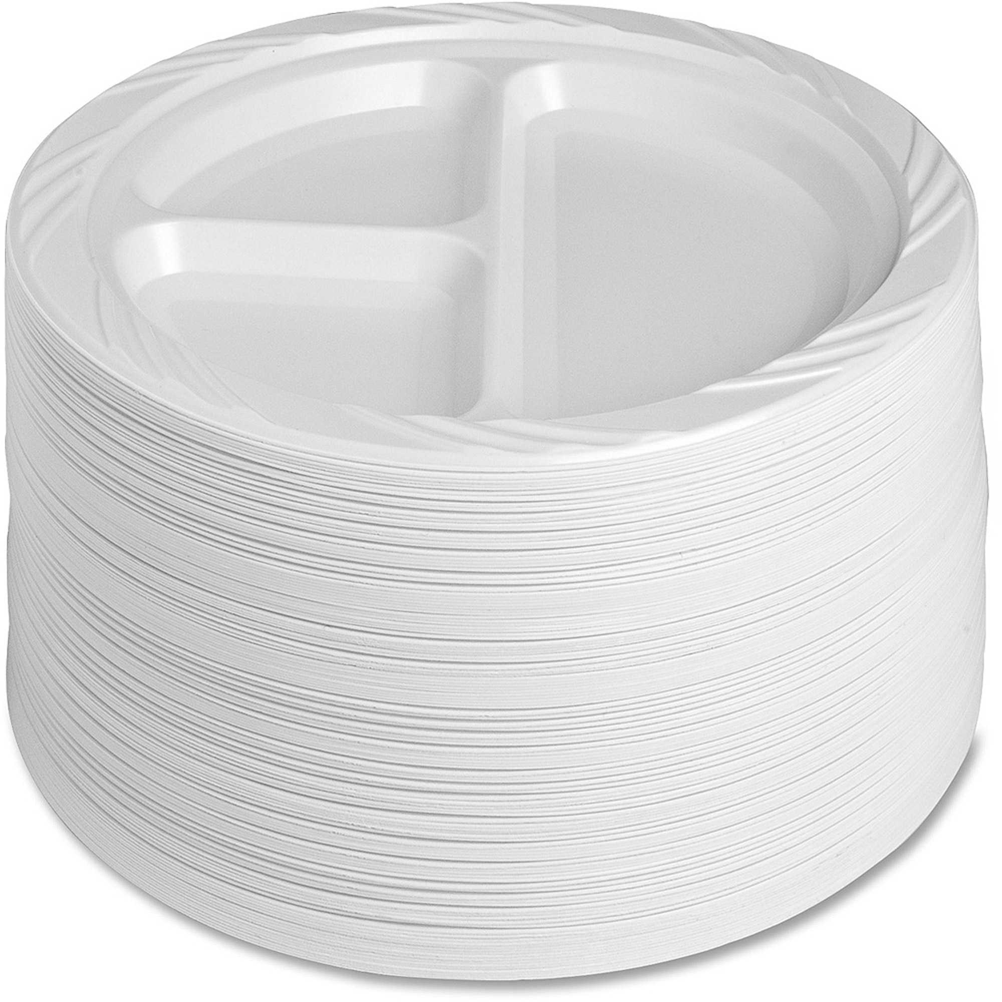 "Genuine Joe Reusable Divided Plastic Plates, White, 9"", 125 count"