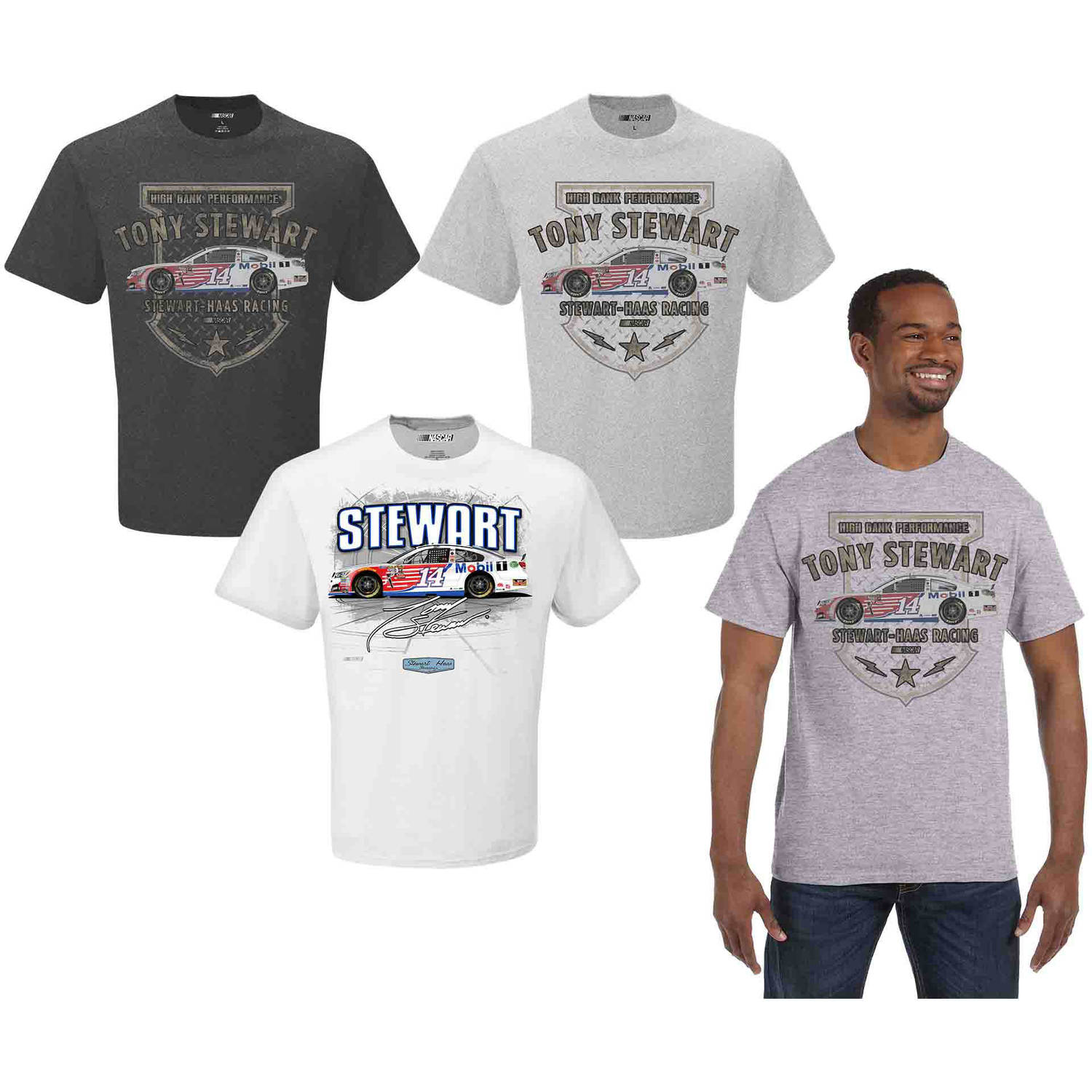 NASCAR Big Men's Tony Stewart 3 Pack Tee Shirts, 2XL