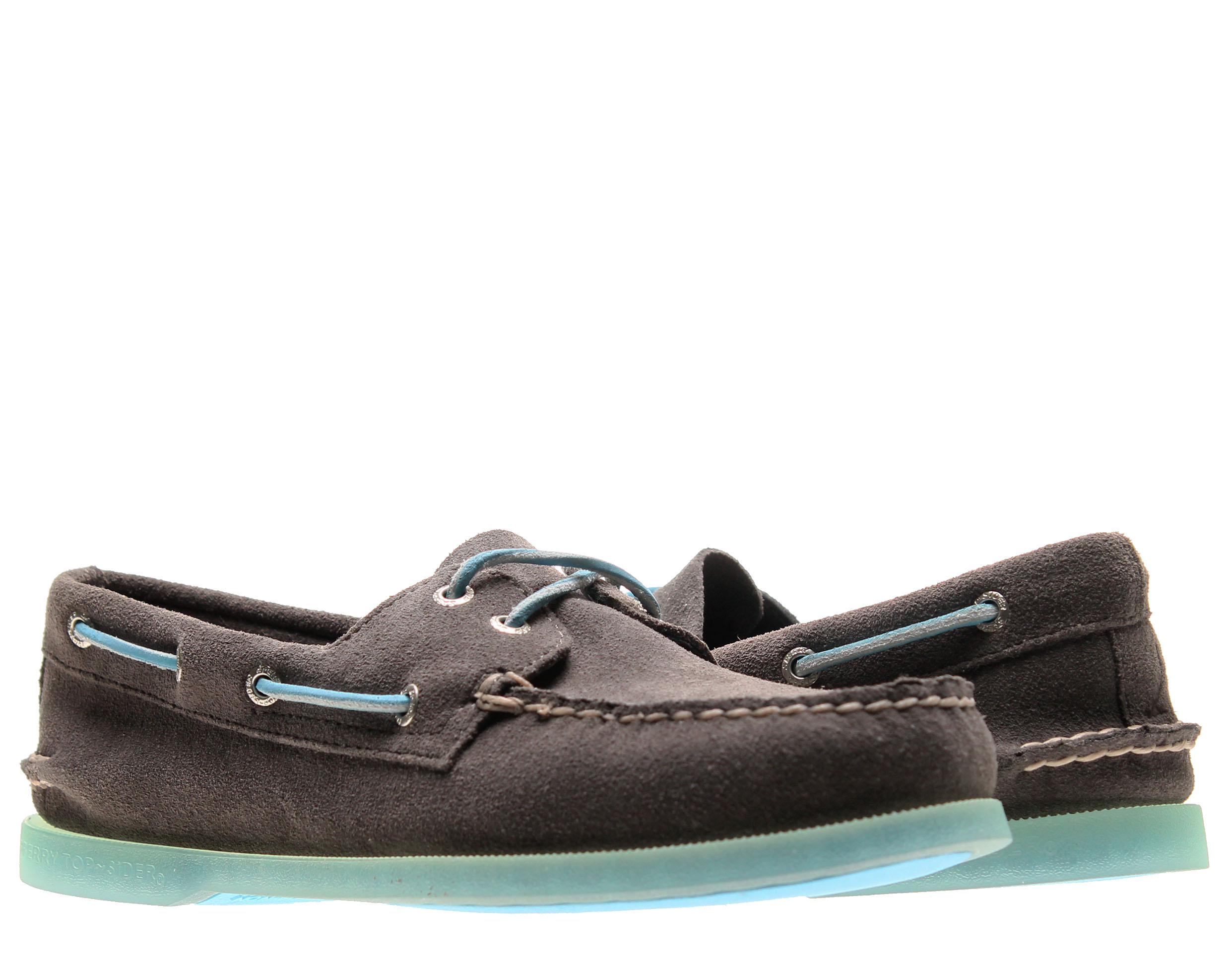 Sperry Top Sider Authentic Original Ice Sole Grey Suede 2-Eye Men's Boat Shoes 10509810 by