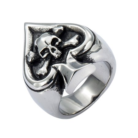 Hermah Mens Boys Ring Punk Spade Skull Cross 316L Stainless Steel Ring US Size 8-14