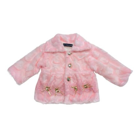 Little Girls Pink Flower Lace Decorated Faux Fur Long Sleeved Jacket ()