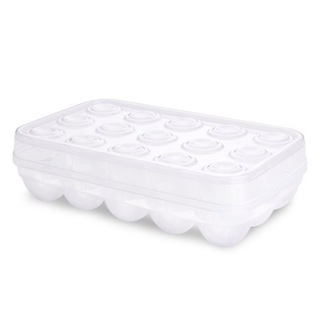 Covered 15 Eggs Holder - Plastic Eggs Tray Container Dispenser Case Carton Box Carrier Stackable Storage Organizer Storer Keeper with Clear Lid Large Capacity for Refrigerator Fridge Home