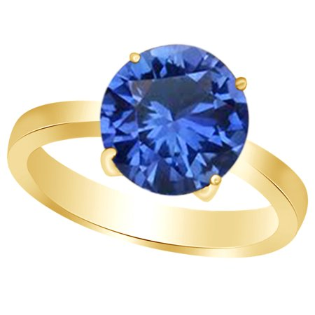- Round-Cut Simulated Blue Sapphire September Birthstone Solitaire Ring In 14K Yellow Gold Over Sterling Silver By Jewel Zone US (3.5 Cttw)