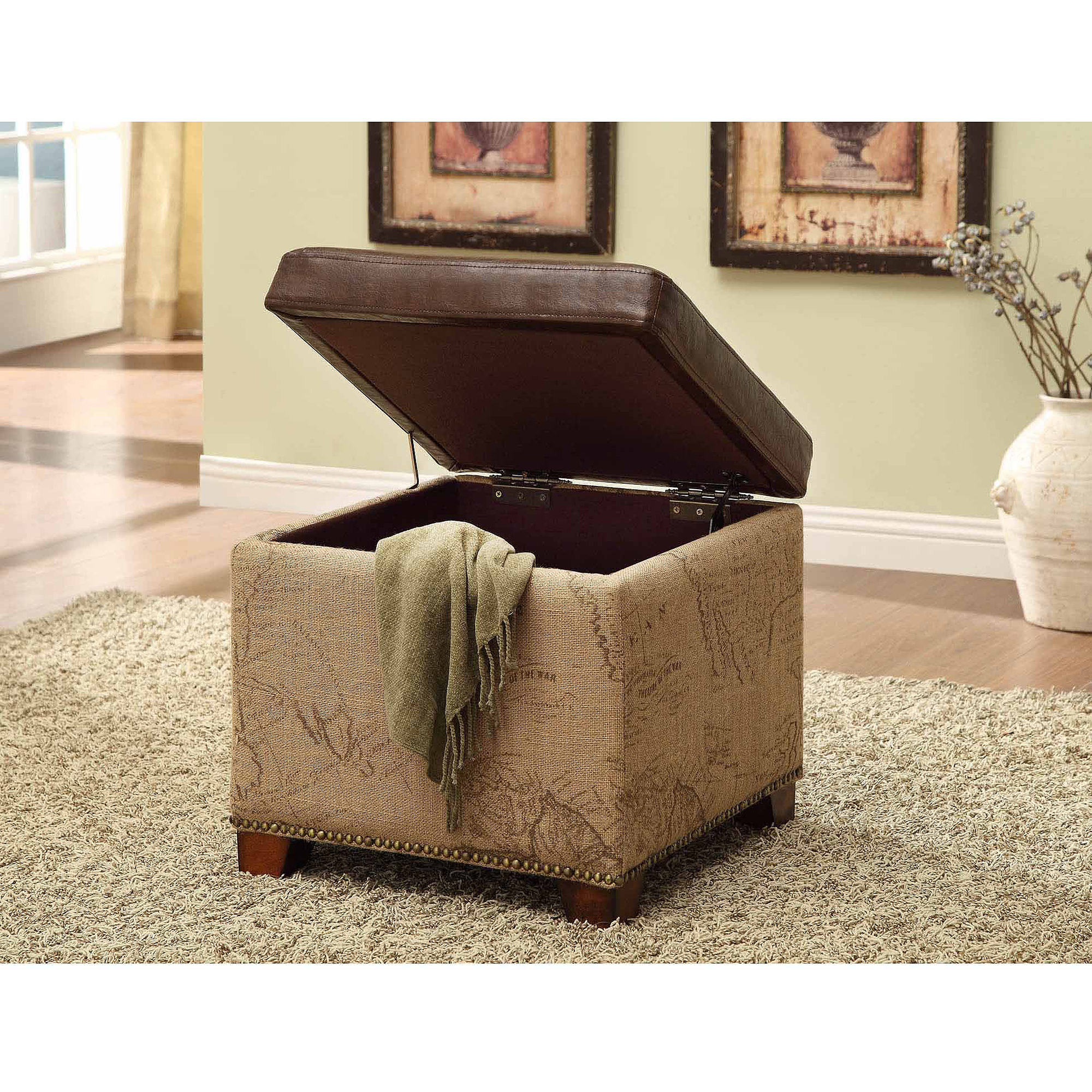 Antique Brown Storage Ottoman with Natural Jute and Accent Nails