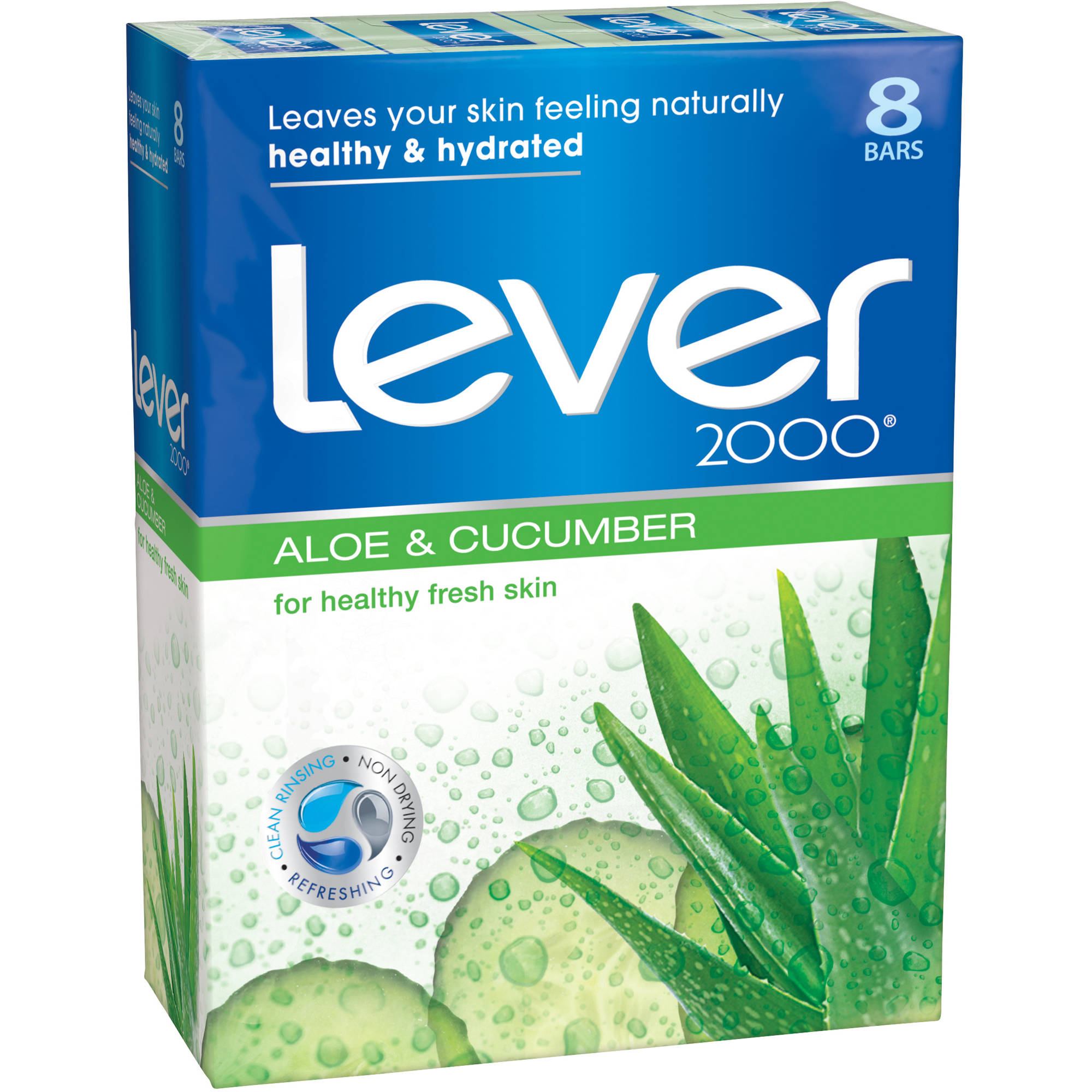 Lever 2000 Aloe and Cucumber Bar Soap, 4 oz, 8 Bar