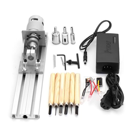 Mini Lathe Beads Machine Woodworking DIY Lathe Standard Set with Power DC - All In One Woodworking Machine