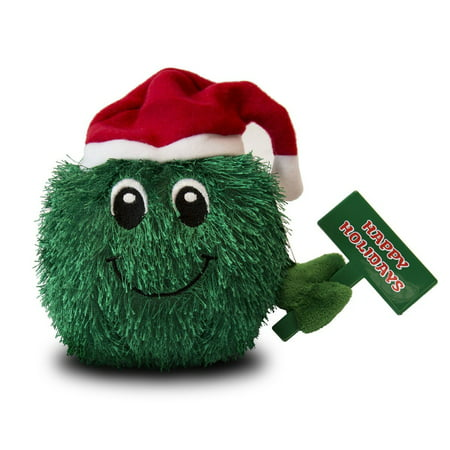 Happy Holidays Smiley Plush Toy with Santa Hat, Green, Fuzzy green fur By Beverly Hills Teddy Bear Ship from US