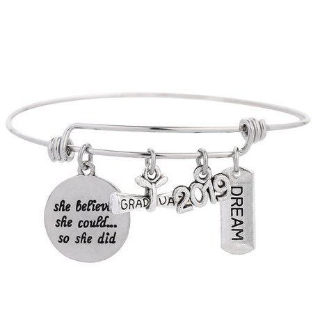 AkoaDa 1PCS Class of 2019 Graduation Bracelet Inspirational Adjustable Bangle Graduation Gift for Graduates She Believed  She  Could