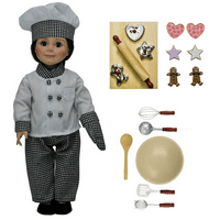 Complete Chef Doll Clothing & 11pc Kitchen Tool Accessory Set. Cookie Cutters, 6 Pc Cookies, Baking Tools, For 18 Inch Dolls