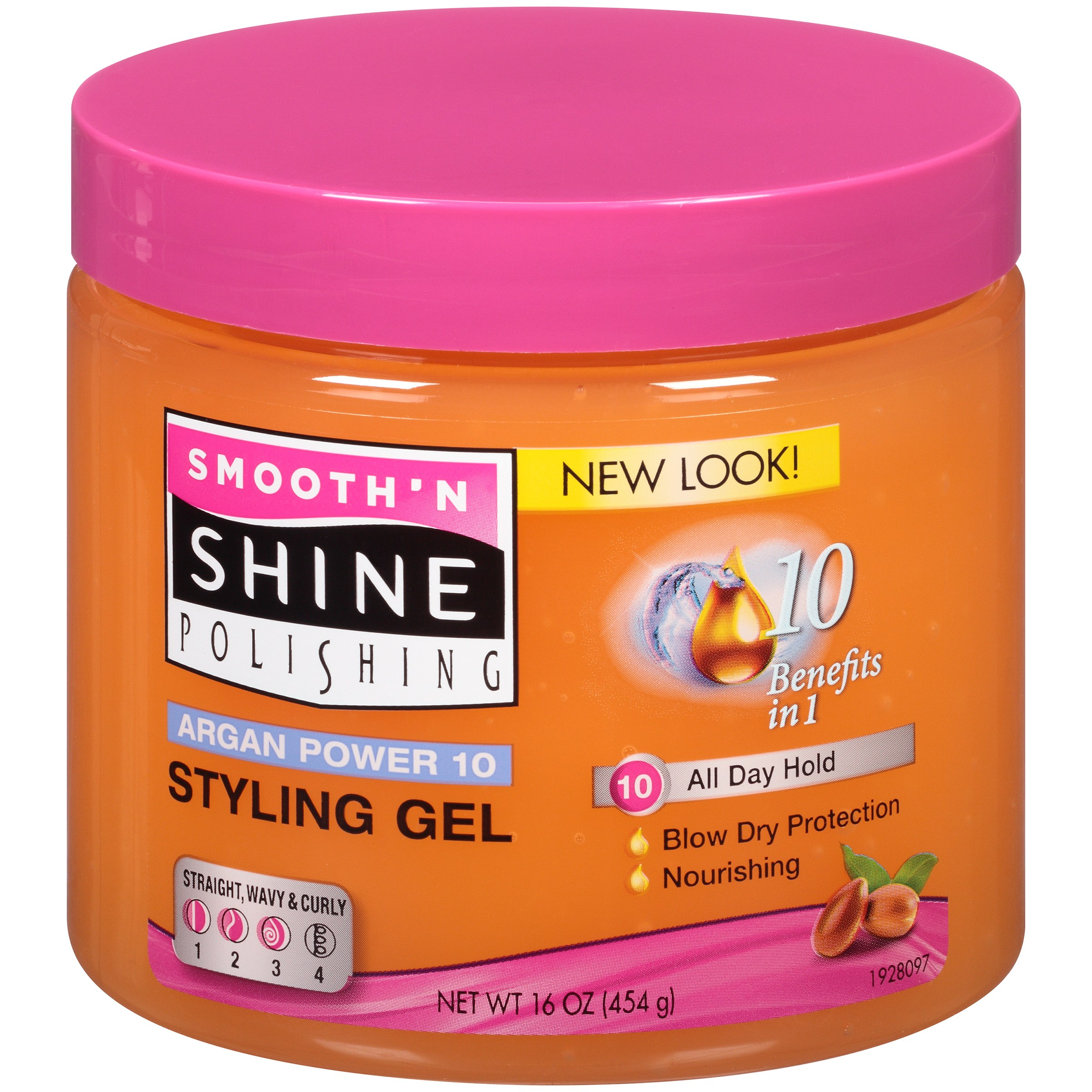Smooth 'N Shine Polishing Argan Power 10 Styling Gel 16 oz. Plastic Jar