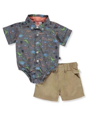 DDG Sport Baby Boys' Buttoned Dinosaur 2-Piece Shorts Set Outfit (Newborn)