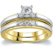 1/4 Carat T.W. Diamond 10kt Yellow and White Gold Bridal Set