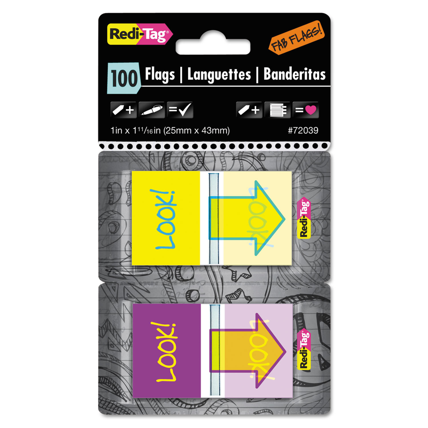 "Pop-Up Fab Page Flags w/Dispenser, ""Look!"", Purple/Yellow; Yellow/Teal, 100/Pack"