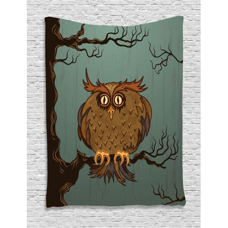Owls Home Decor Wall Hanging Tapestry, Exhausted Hangover Tired Owl In Oak Tree With Eyebrows Nature Cartoon Fun Artwork, Bedroom Living Room Dorm Accessories, By Ambesonne