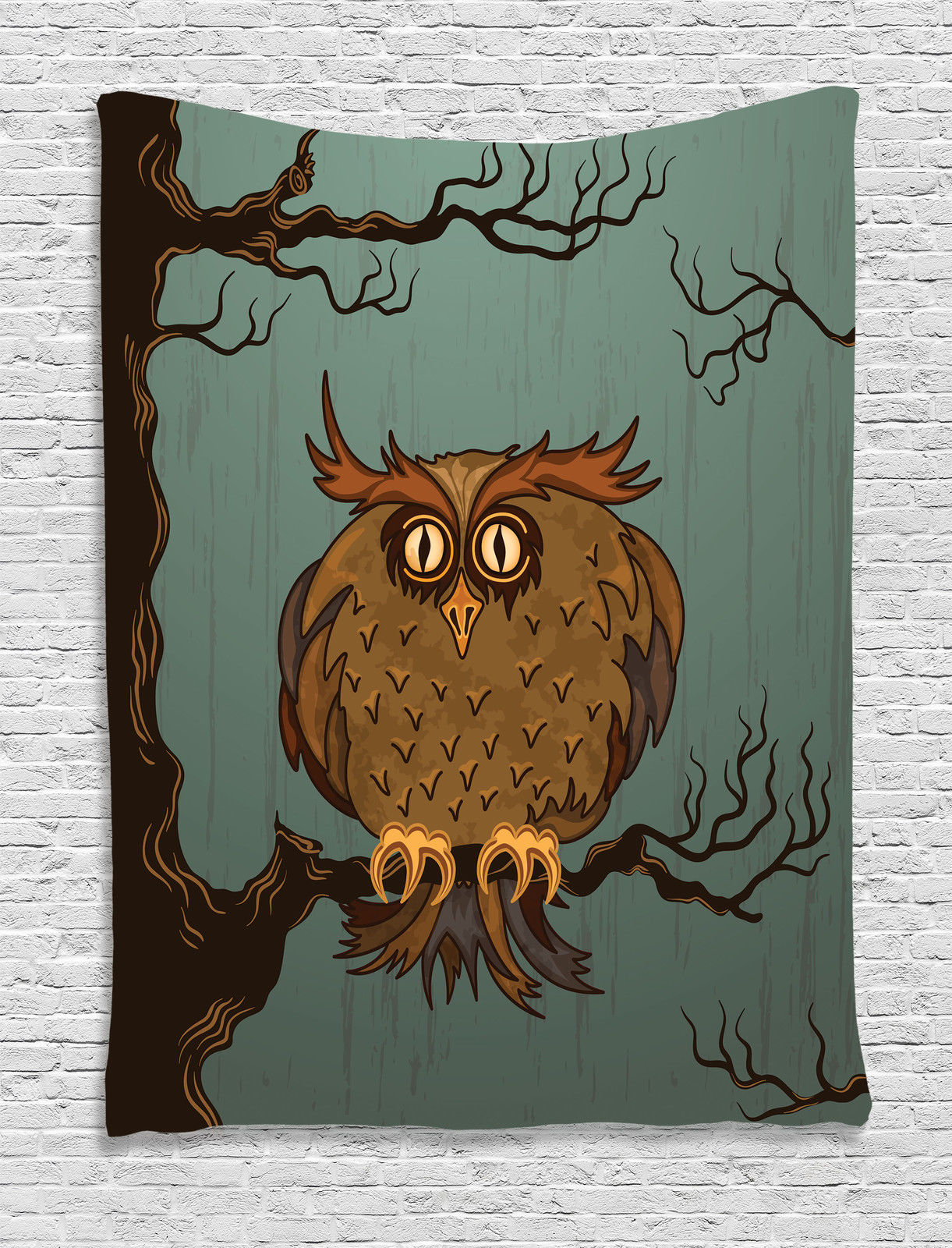 Owls Home Decor Wall Hanging Tapestry, Exhausted Hangover Tired Owl In Oak  Tree With Eyebrows Nature Cartoon Fun Artwork, Bedroom Living Room Dorm ...