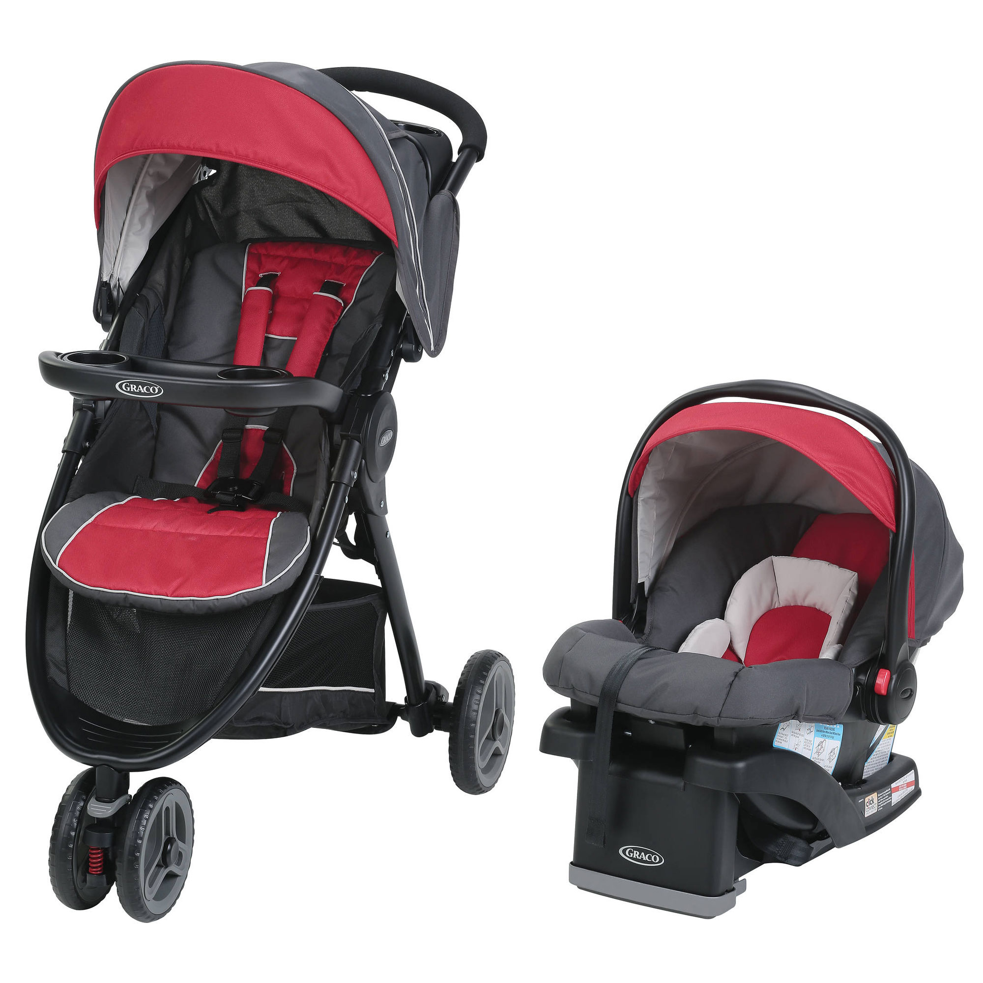 Graco FastAction Fold Sport LX Travel System Stroller, Seat, and Base, Chili Red