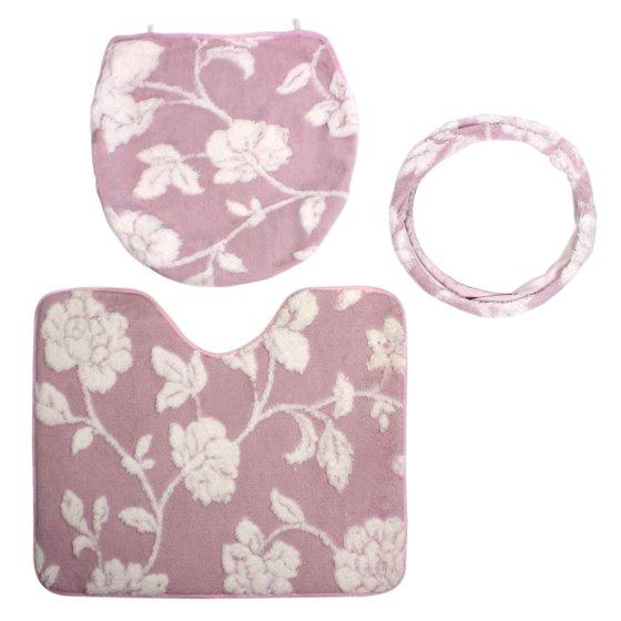 unique bargains 3 in 1 floral pattern washable bathroom floor non slip mat pad pink bath rug set. Black Bedroom Furniture Sets. Home Design Ideas