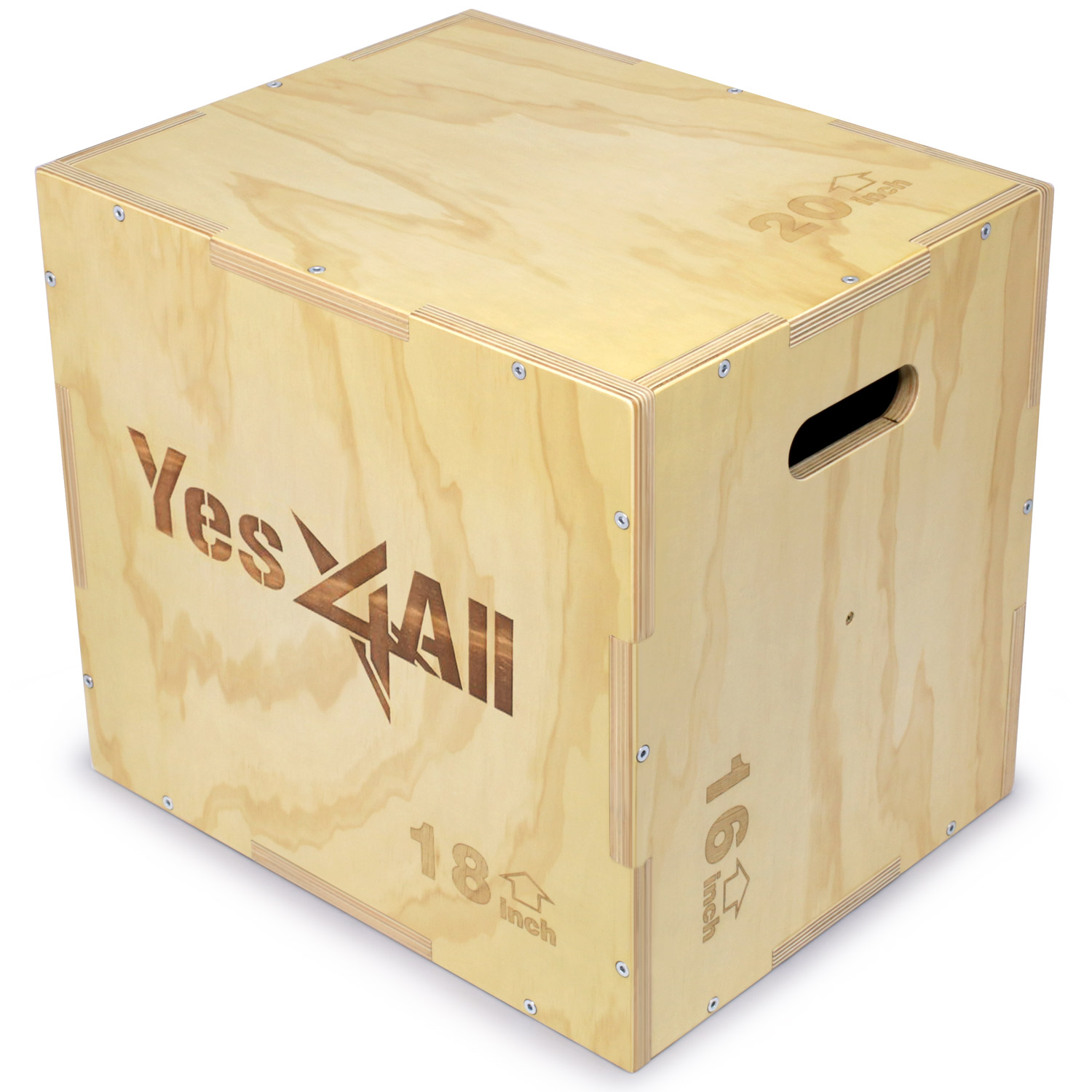 Yes4All 20x18x16 Wooden Plyo Box for Exercise - Included: Packaged Screws