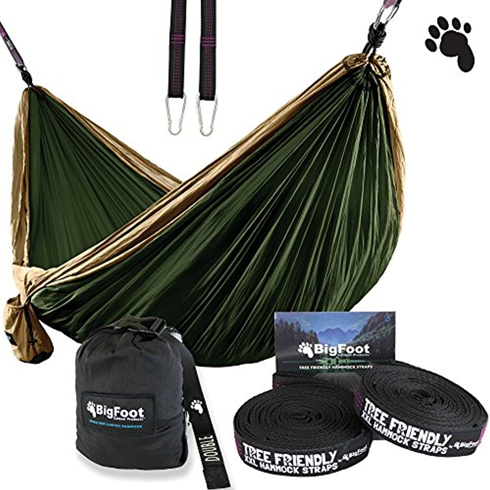 BigFoot Outdoor Double Tree Hammock Suspension System - w/ XL Straps - 34 Loops Total - Over 10.6 feet Long - 6.6 feet wide - 4 Steel Carabiners + Strap Carrying Pouch (Brown/Dark Green)