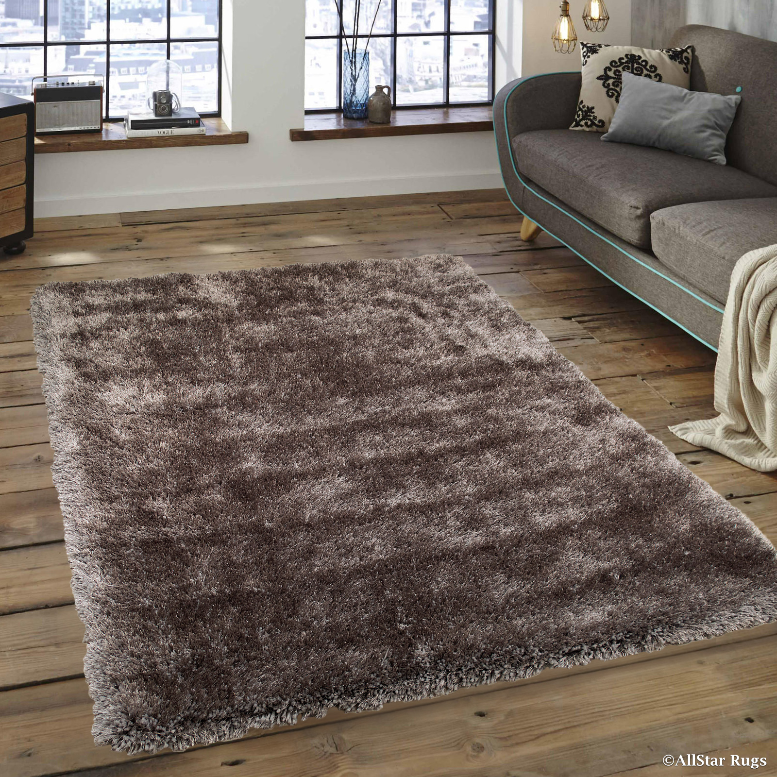 """Allstar Silver High Density and High Quality High End Shaggy Area Rug. Very Soft Extra comfort (3' 8"""" x 5' 1"""")"""