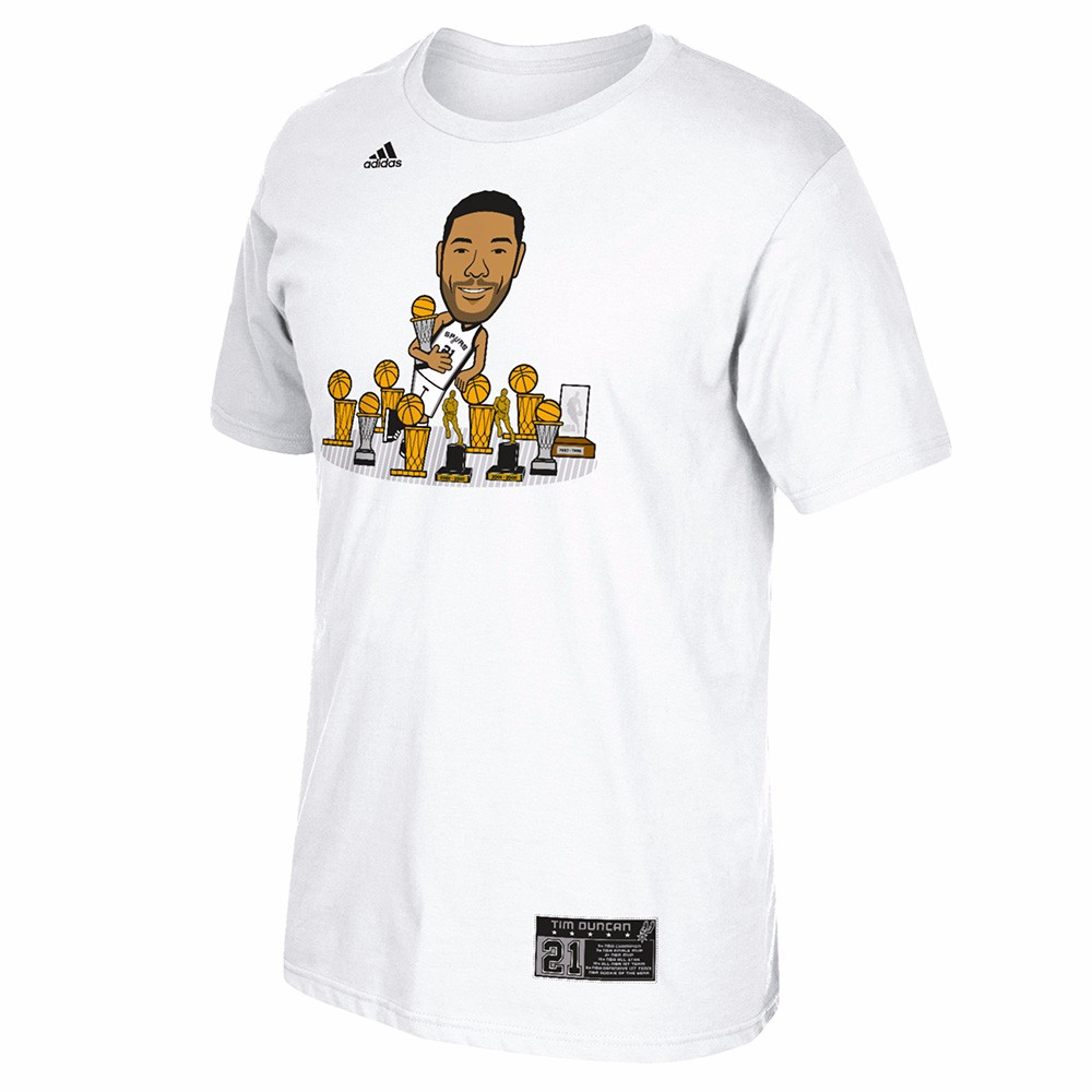 "Tim Duncan San Antonio Spurs NBA Adidas Men White Player ""Geeked Up"" Trophy  T-Shirt"
