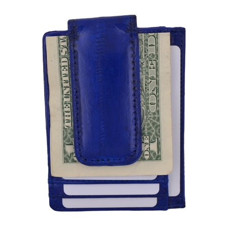 Genuine Eel Skin Leather Money Clip Front Pocket Wallet with Magnet Clip and Card ID Case E 910E