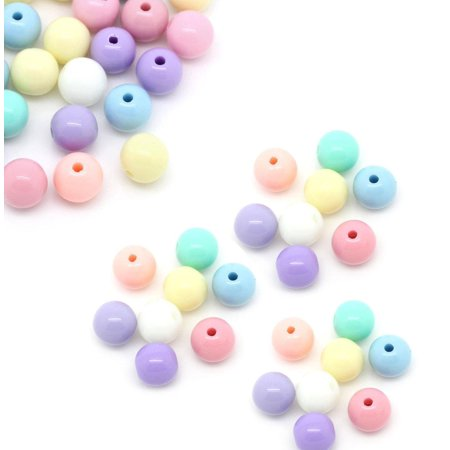 450 Random Acrylic Spacer, Loose Beads, Round Pastel 6mm Hole 1.5mm 6mm Round Spacer Bead