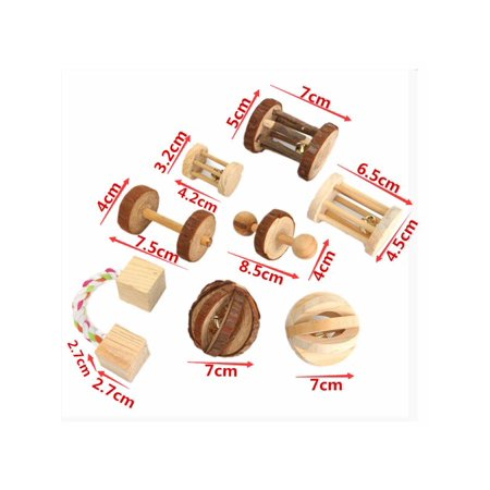 Aimeeli Natural Pine Dumbells Unicycle Bell Roller Chew Toys For Rabbits Guinea Pigs