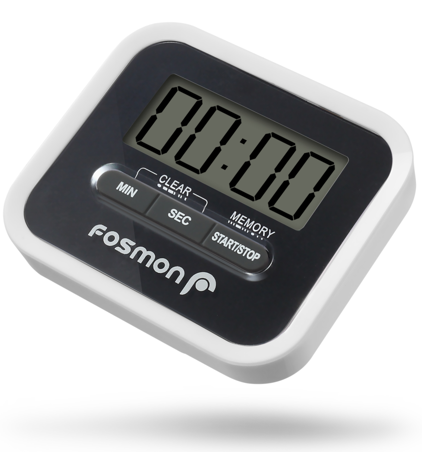 Fosmon Digital Kitchen Timer with Large LCD Display, LoudAlarm,Magnetic Backing,Folding Stand and Belt Clip(White/Black)