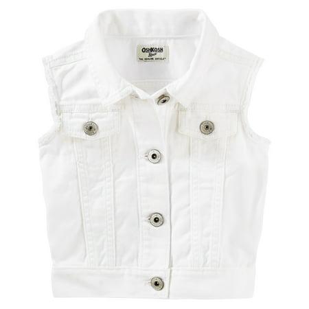 OshKosh B'gosh Little Girls' Denim Vest, White, 2-Toddler