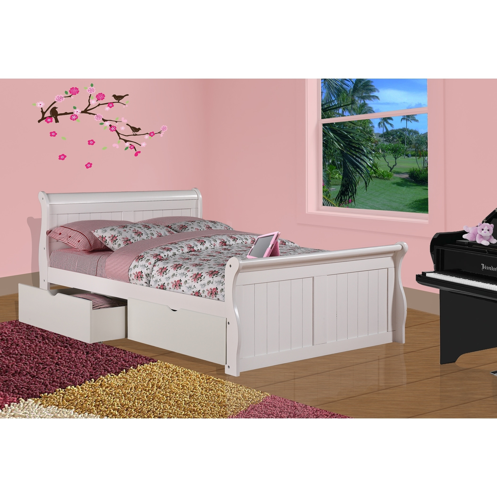 Donco Kids White Sleigh Bed with Under Bed Storage Drawers ...