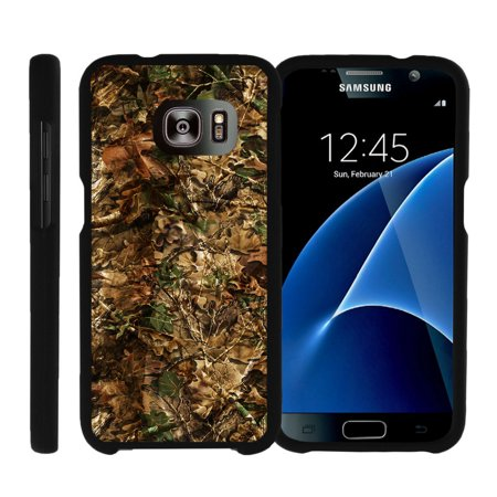 Samsung Galaxy S7 G930, [SNAP SHELL][Matte Black] Snap On Hard Plastic Protector with Non Slip Coating with Unique Designs - Hunting Leaves Camo (Samsung A197)