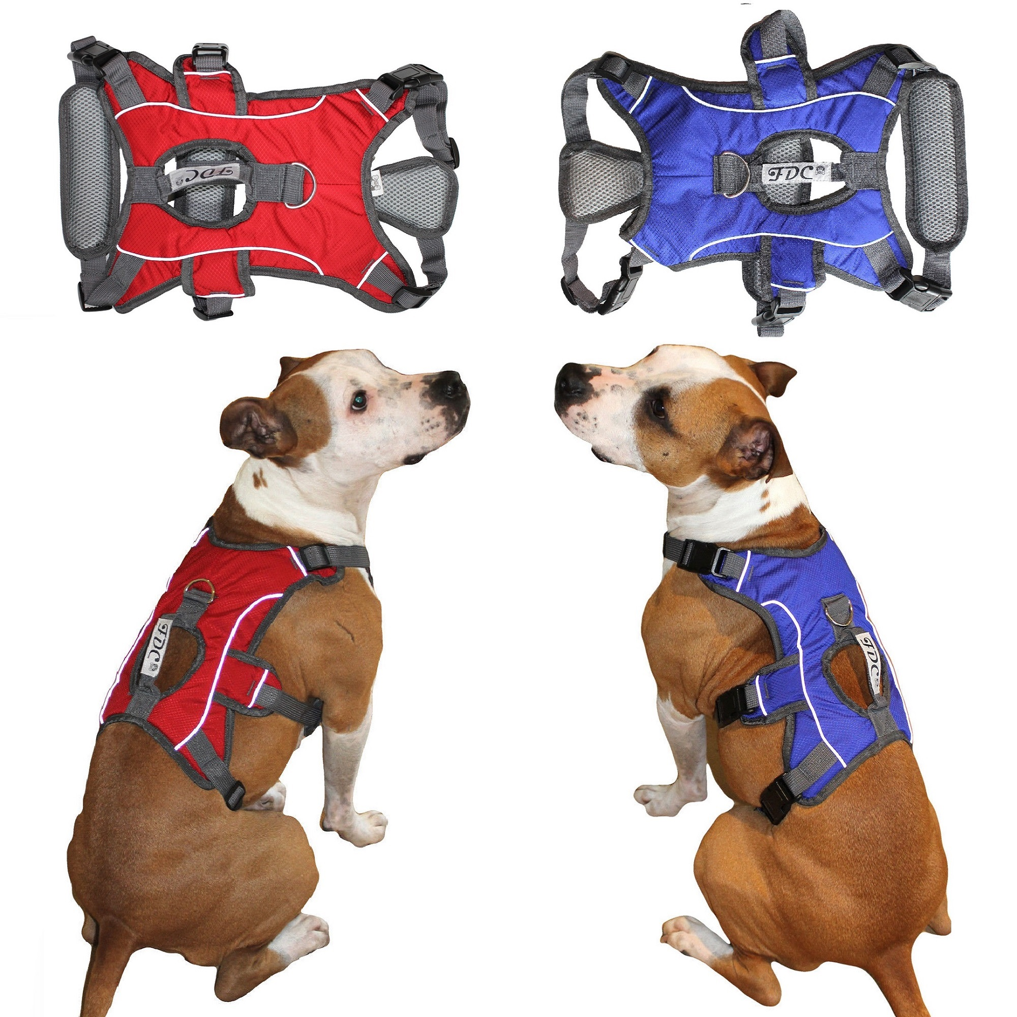 "HEAVY DUTY Durable No-Pull Comfortable Walking Working Dog Harness Vest with HANDLE and REFLECTIVE Stripes PADDED Adjustable for Medium and Large Dogs Size (M: CHEST 20"" - 26"", Red)"