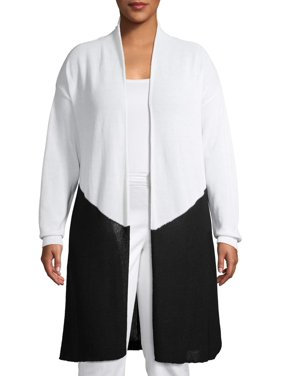 Terra & Sky Women's Plus Size Long Sleeve Chevron Colorblock Duster Cardigan